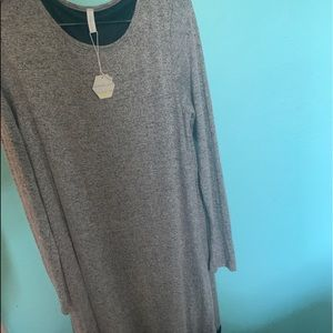 Long sleeve grey and black lace trim dress w tags